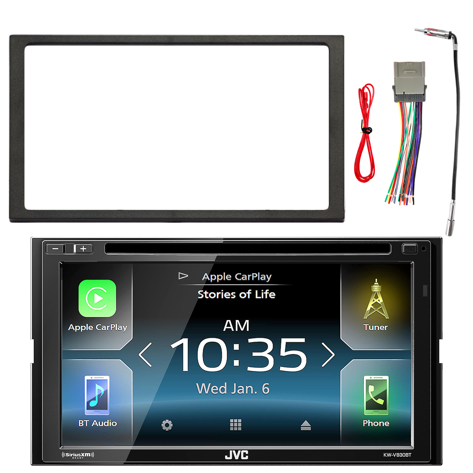JVC KWV830BT Double DIN CD Bluetooth Receiver, Enrock Double DIN Installation Dash Kit, Enrock Stereo Wiring Harness, Enrock Antenna Adapter