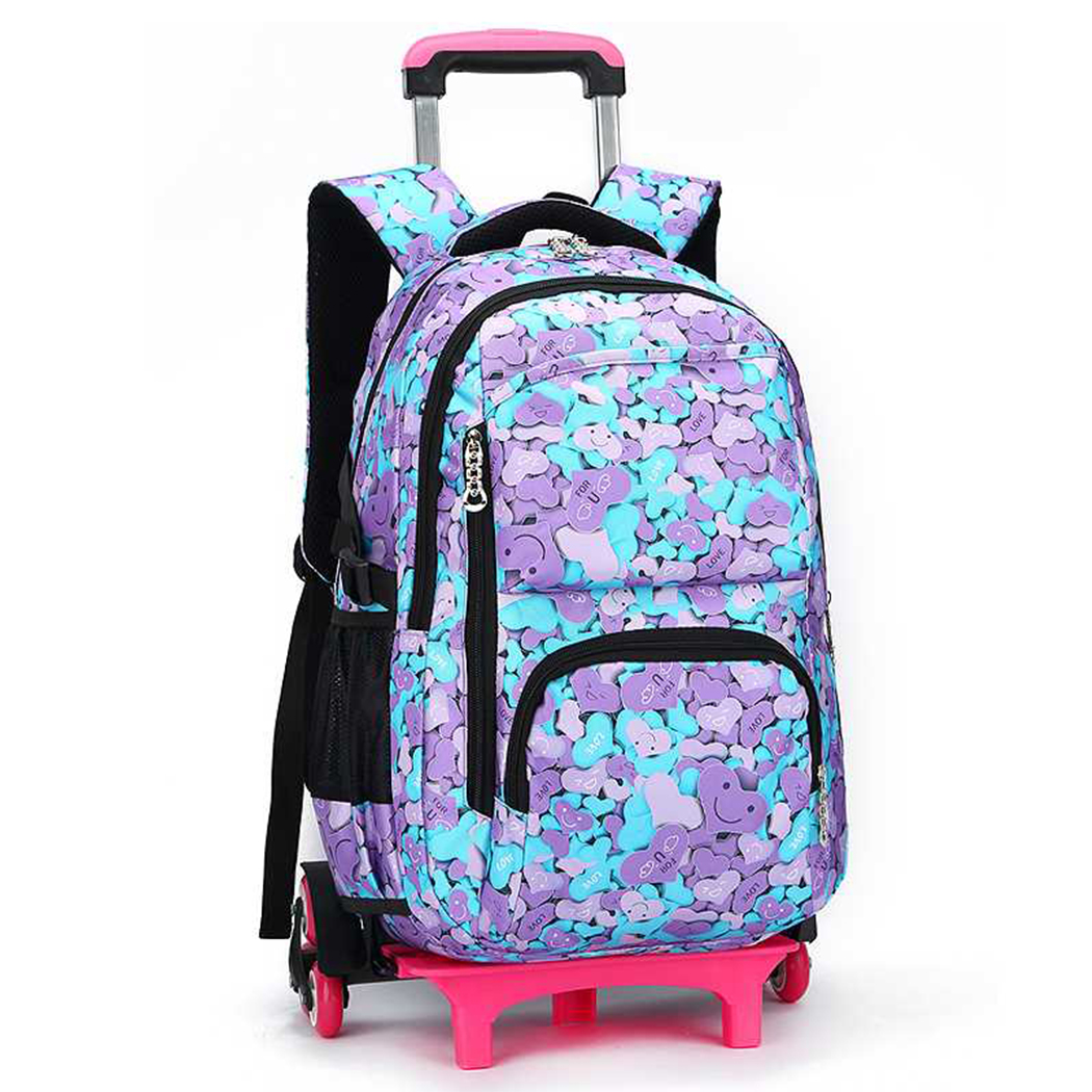 Coofit Luggage Wheels Backpack Multi-purpose Casual Travel Rolling Backpack School Daypack for Students Girls Boys Kids
