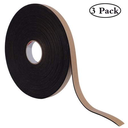 3Pcs Weather Stripping with Self-Adhesive, Insulation Foam Seal Tape Strips for Windows and Doors, Anti-Collision And Sound Proof Closed Cell(3/5 inch Wide X 1/8 inch Thick X 16 Feet Long) Closed Cell Foam Tape