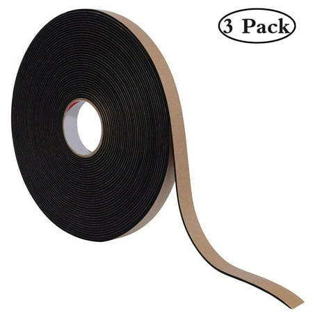3Pcs Weather Stripping with Self-Adhesive, Insulation Foam Seal Tape Strips for Windows and Doors, Anti-Collision And Sound Proof Closed Cell(3/5 inch Wide X 1/8 inch Thick X 16 Feet