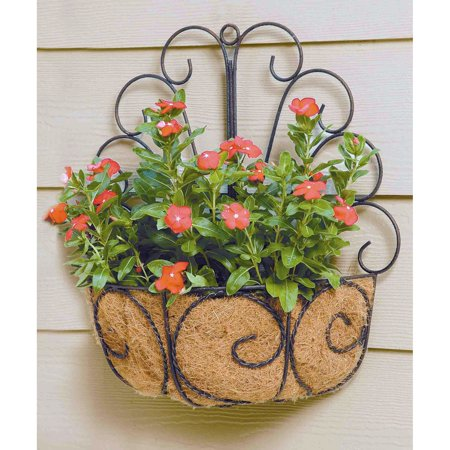 - Deer Park Ironworks Peacock Wall Basket with Coco Liner