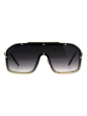 f5ee36aac61 Product Image 80s Retro Robotic Shield Oversize Metal Rim Gradient  Sunglasses All Black
