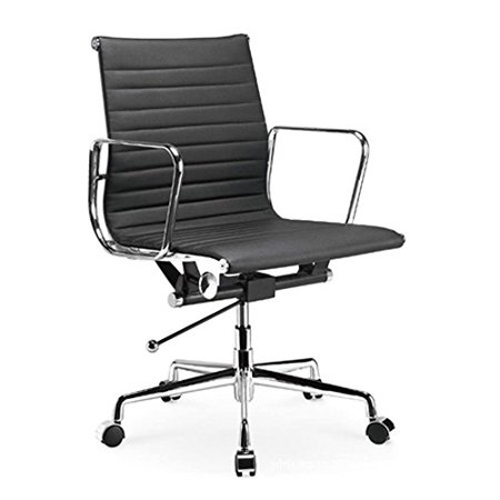 Manhattan Comfort Ellwood Mid Back Adjustable Office Chair In Black