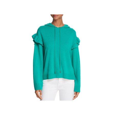 Joie Womens Pammeli Wool Ribbed Trim Hooded Sweater Green XXS