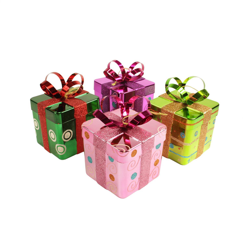 "4ct Candy Fantasy Gift Box Shatterproof Christmas Ornaments 6"""
