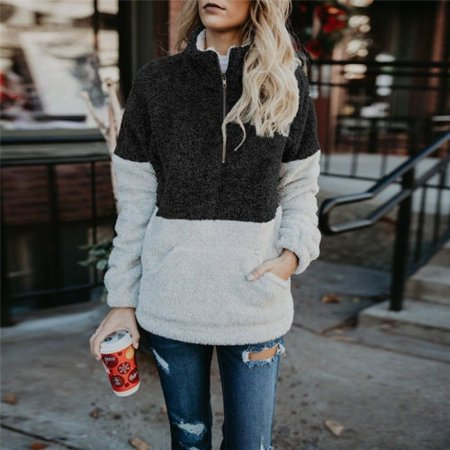 - Womens Fashion Soft Fluffy Teddy Fleece High Collar Sweatshirt Jacket Coat Sweater Tops Winter Warm
