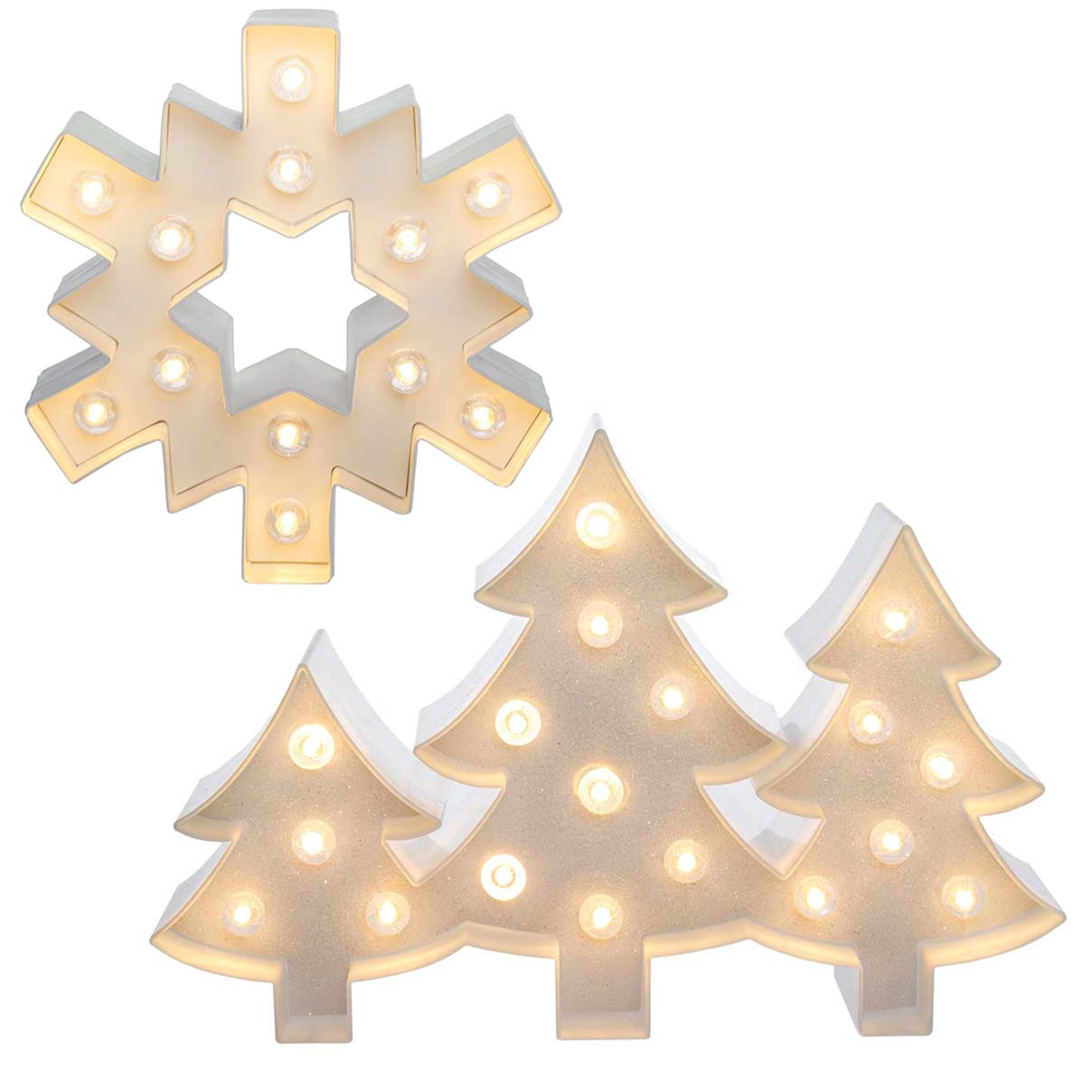 Heidi Swapp (Set of 2) LED Lighted Holiday Marquee Sign Kits Trees & Snowflake Christmas Décor Home Decoration
