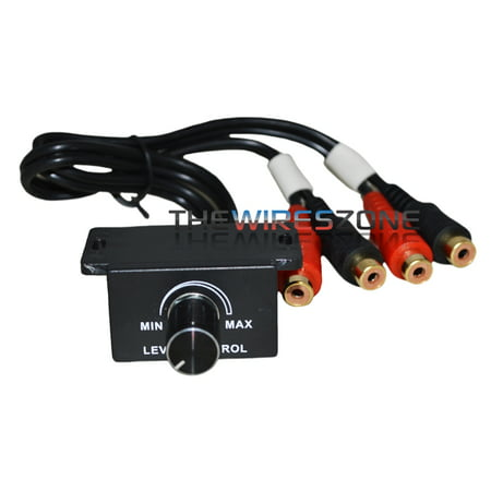- Universal Car Bass Amplifier Remote Level Control Knob Stereo RCA Input & Output