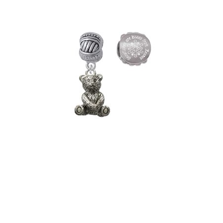 Teddy Bear Snowflakes are Kisses from Heaven Charm Beads (Set of 2)