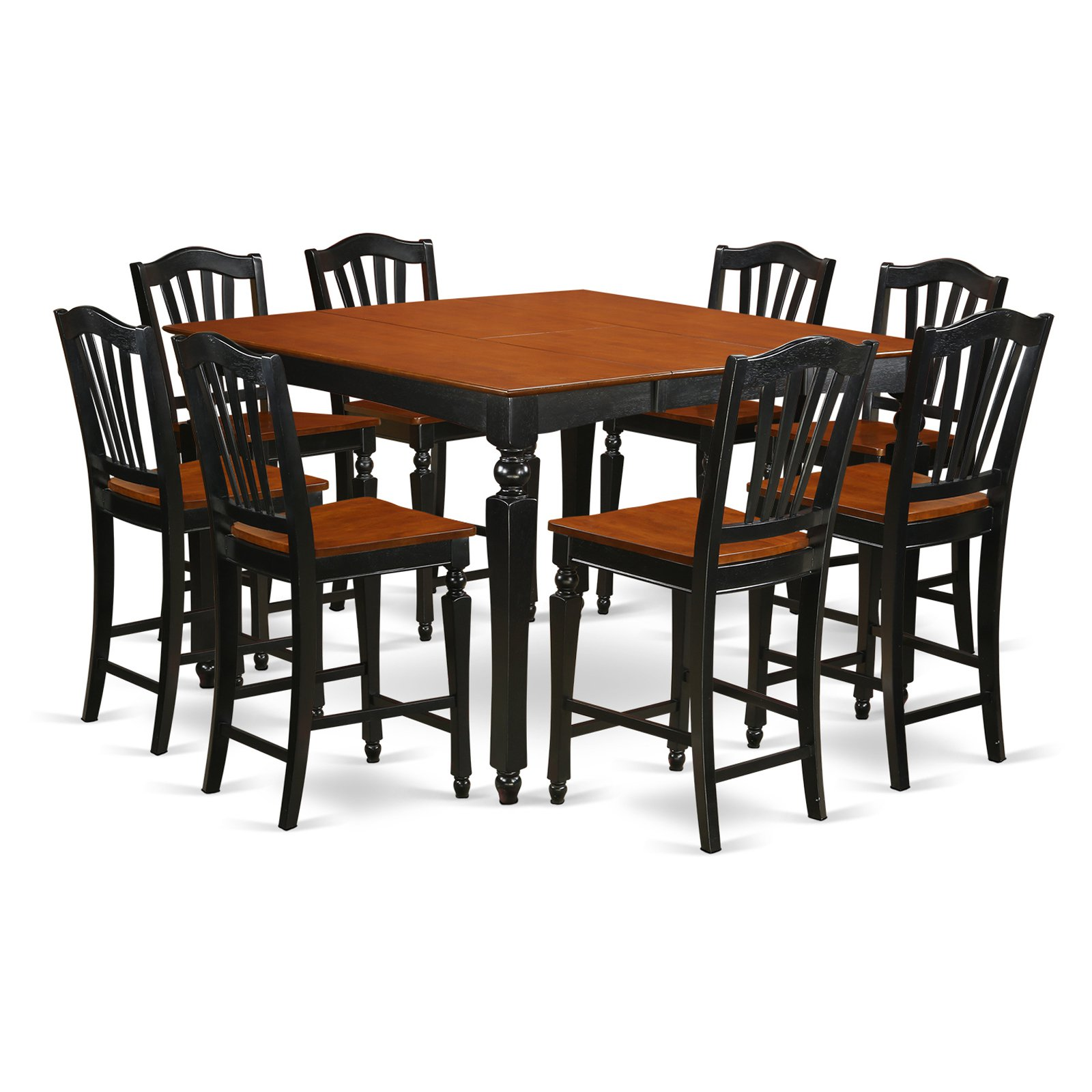 East West Furniture Chelsea 9 Piece High Splat Dining Table Set