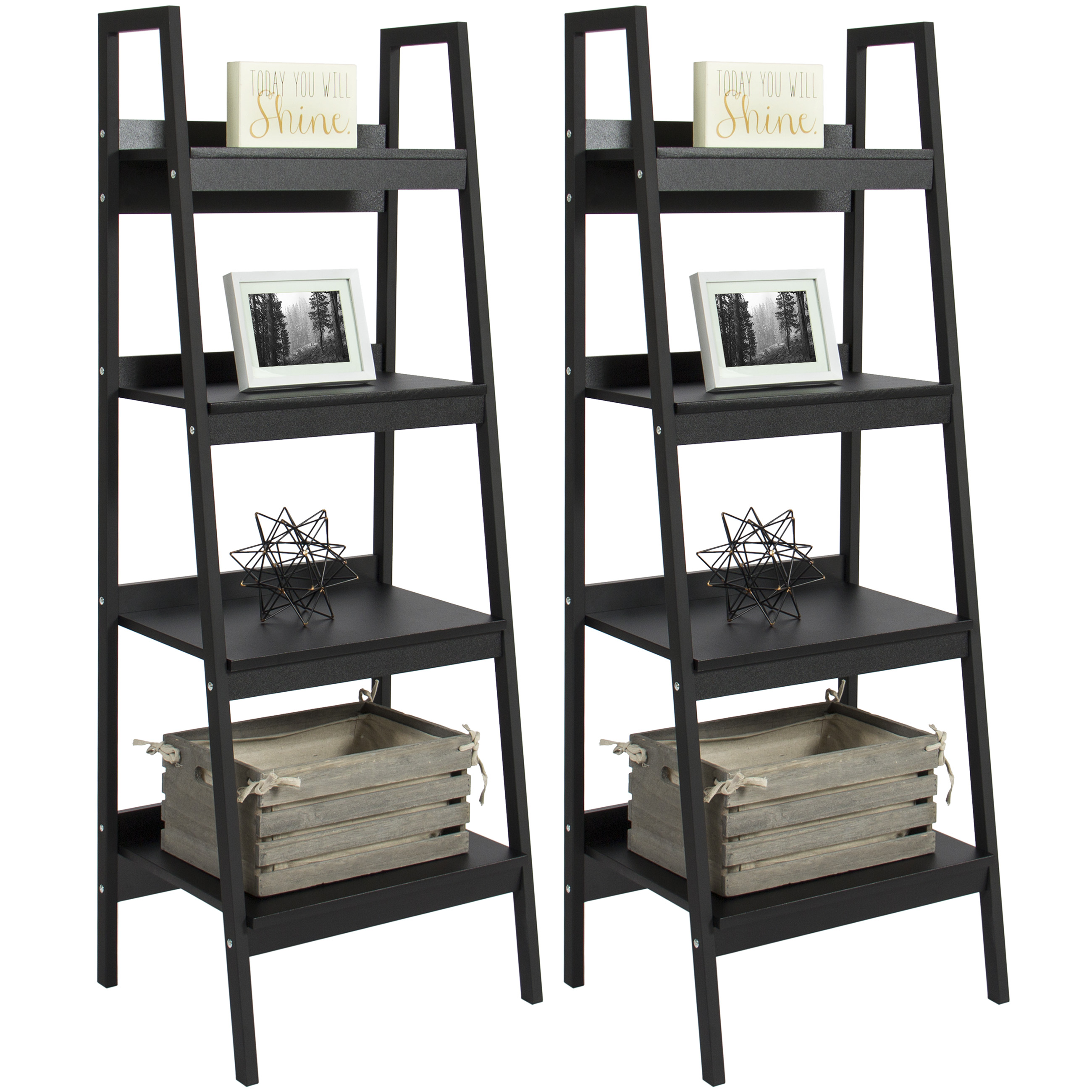 Best Choice Products Furniture Set Pair of 4-Shelf Ladder Bookcases- Black