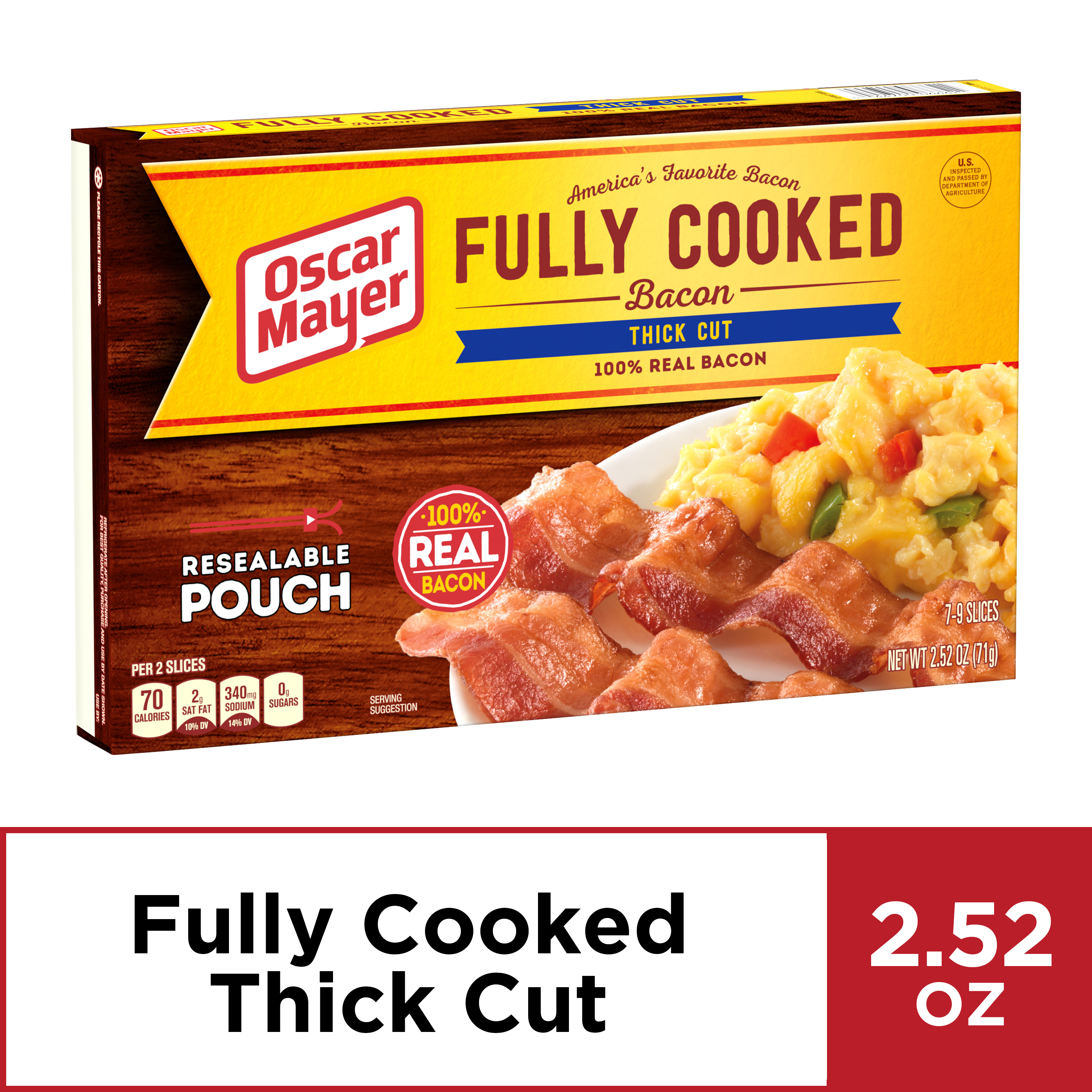Fully Cooked Bacon, 2.52 oz Box