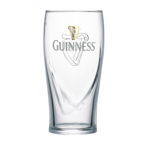 Guinness Pint Glass  2 Pack Set With Official Embossed Harp Logo