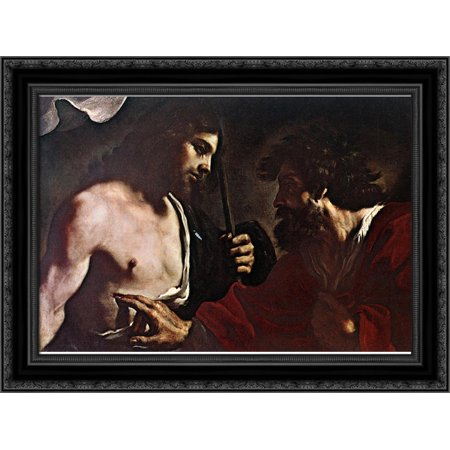 Doubting Thomas 24X19 Black Ornate Wood Framed Canvas Art By Guercino