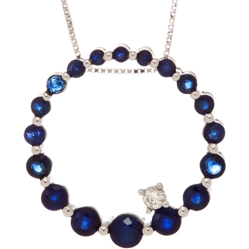 1.488 Carat T.G.W. Sapphire with Diamond Accent 10kt White Gold Pendant, 18""