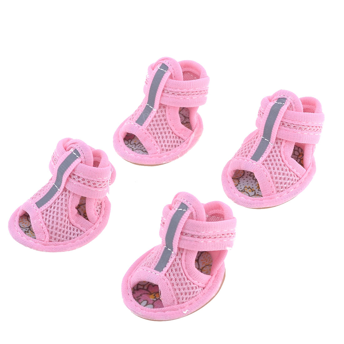 Unique Bargains 2 Pairs Rubber Sole Pink Mesh Sandals Yorkie Chihuaha Dog Shoes Size S