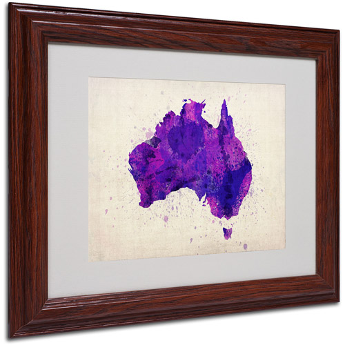 "Trademark Fine Art ""Australia Paint Splashes Map"" Framed by Michael Tompsett"
