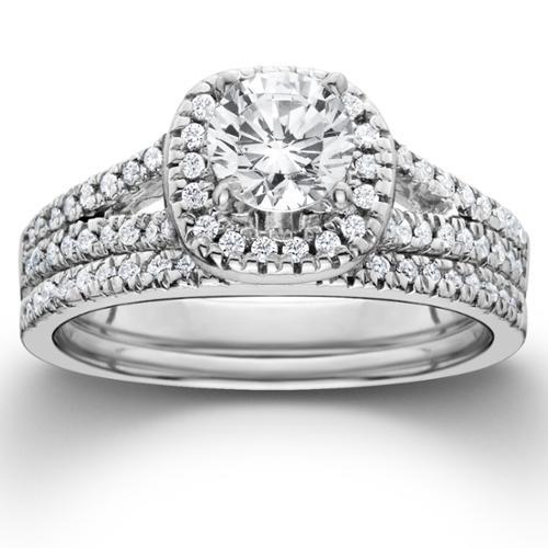 1ct Halo Diamond Engagement Ring Set Split Shank Bridal Wedding 14K White Gold