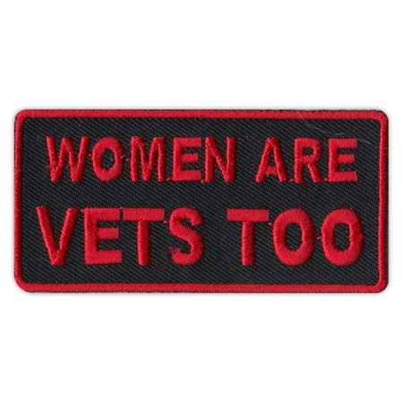 """Motorcycle Jacket Patch - Women Are Vets Too - Veterans, Support, Military - 3"""" x 1.5"""" Patch"""