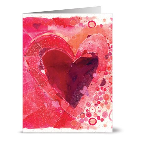 24 Valentine's Day Note Cards - Painted Heart - Blank Cards - Red Envelopes Included ()