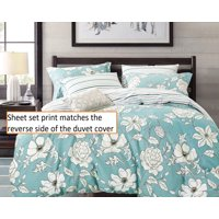 Swanson Beddings Blue Floral 100% Cotton Sheet Set : Fitted Sheet, Flat Sheet and Two Matching Pillowcases (Queen)