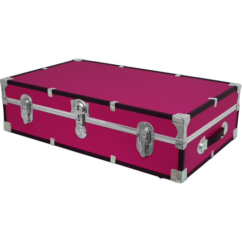Seward Trunk Under Bed Wheeled Storage Footlocker Trunk 19 Gal. Wood Storage Box with Handle, Pink