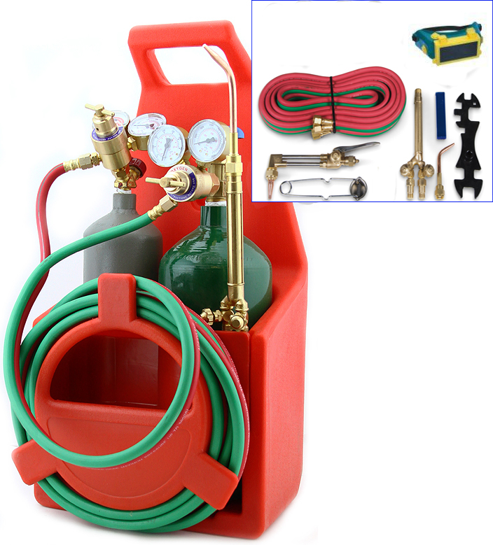 Stark Portable Victor Type Welding & Cutting Torch Kit Oxygen Acetylene Tote Carrier