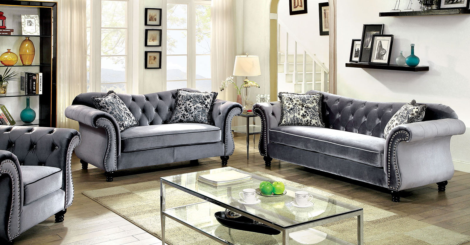 Luxurious Jolanda Sofa Set And Loveseat Grey Traditional Living Room Furniture 2pc Button Tufted Design