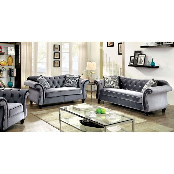 Traditional Sofas Living Room Furniture: Luxurious Jolanda Sofa Set Sofa And Loveseat Grey