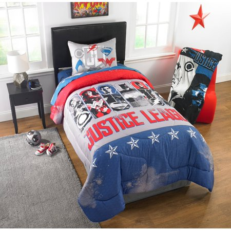 - Justice League Movie 'Call for Justice' Kid's Bedding Reversible Twin/Full Comforter with Sham
