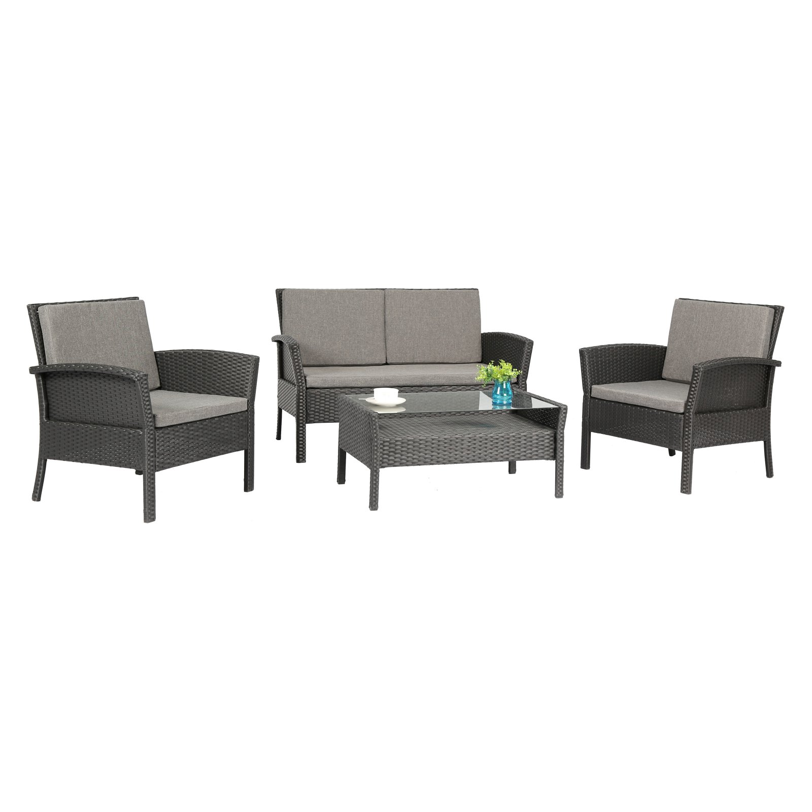 Baner Garden Outdoor Furniture Complete Patio PE Wicker Rattan Garden Set, Black, 4-Pieces by