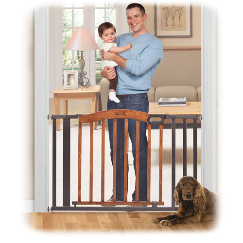 Summer Infant Decorative Wood & Metal Expansion Walk-Thru Gate, Oak/Slate