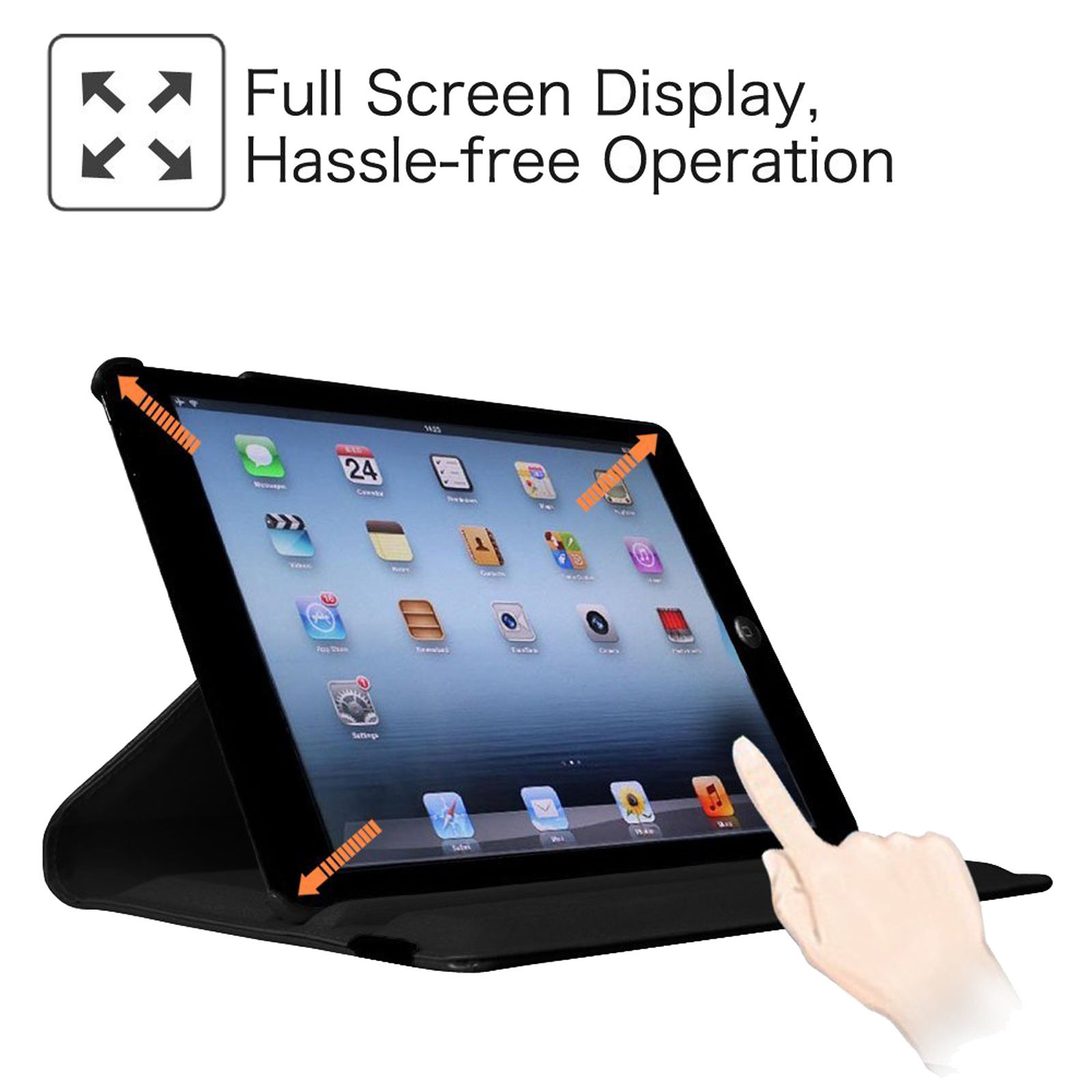LivEditor Apple iPad 2 3 4 - Black 360 Rotating Stand Leather Case Cover with wake/sleep - image 3 de 7
