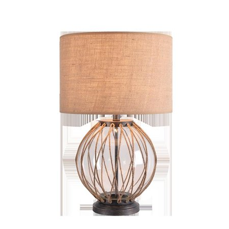 Image of Kenroy Home 34276VM Columbus Large Glass Table Lamp with Clear Glass, Rope & Vintage Metal
