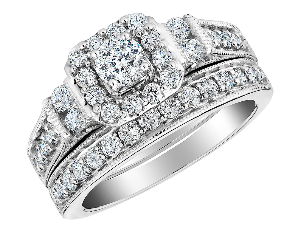 Diamond Engagement Ring & Wedding Band Set 2 5 Carat (ctw) in 10K White Gold by Gem And Harmony