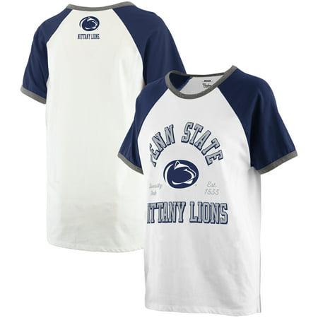 2d25ad03 Penn State Nittany Lions Pressbox Women's Plus Size Nova Ringer Raglan  T-Shirt - White/Navy