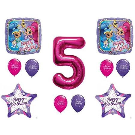 SHIMMER AND SHINE 5th Fifth HAPPY Birthday Party Balloons Decoration Supplies Genie Nick by Qualatex