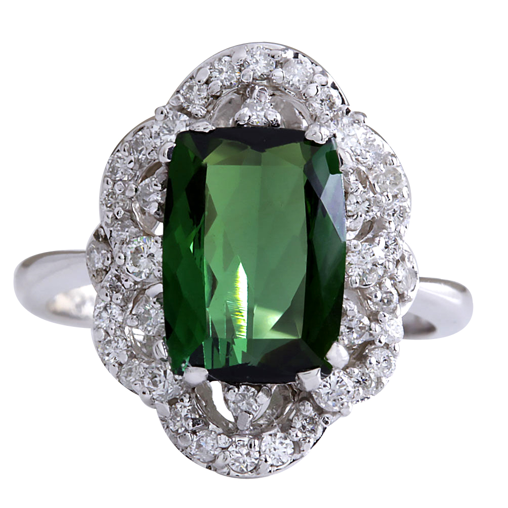 3.51CTW Natural Green Tourmaline And Diamond Ring 14K Solid White Gold by