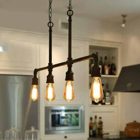Wondrous 4 Light Iron Pipe Kitchen Island Lighting Industrial Pendant Home Remodeling Inspirations Cosmcuboardxyz