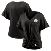 Pittsburgh Steelers Fanatics Branded Women's Sport Resort Tie Front V-Neck T-Shirt - Black