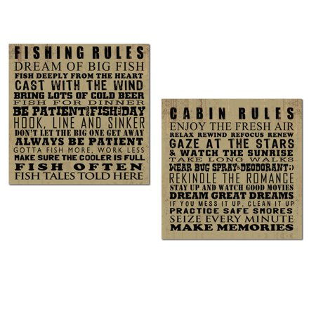Rustic Humorous Fishing and Cabin Rules Set; Perfect for a Lake House or Lodge; Two 12x12in Unframed Paper Posters ()