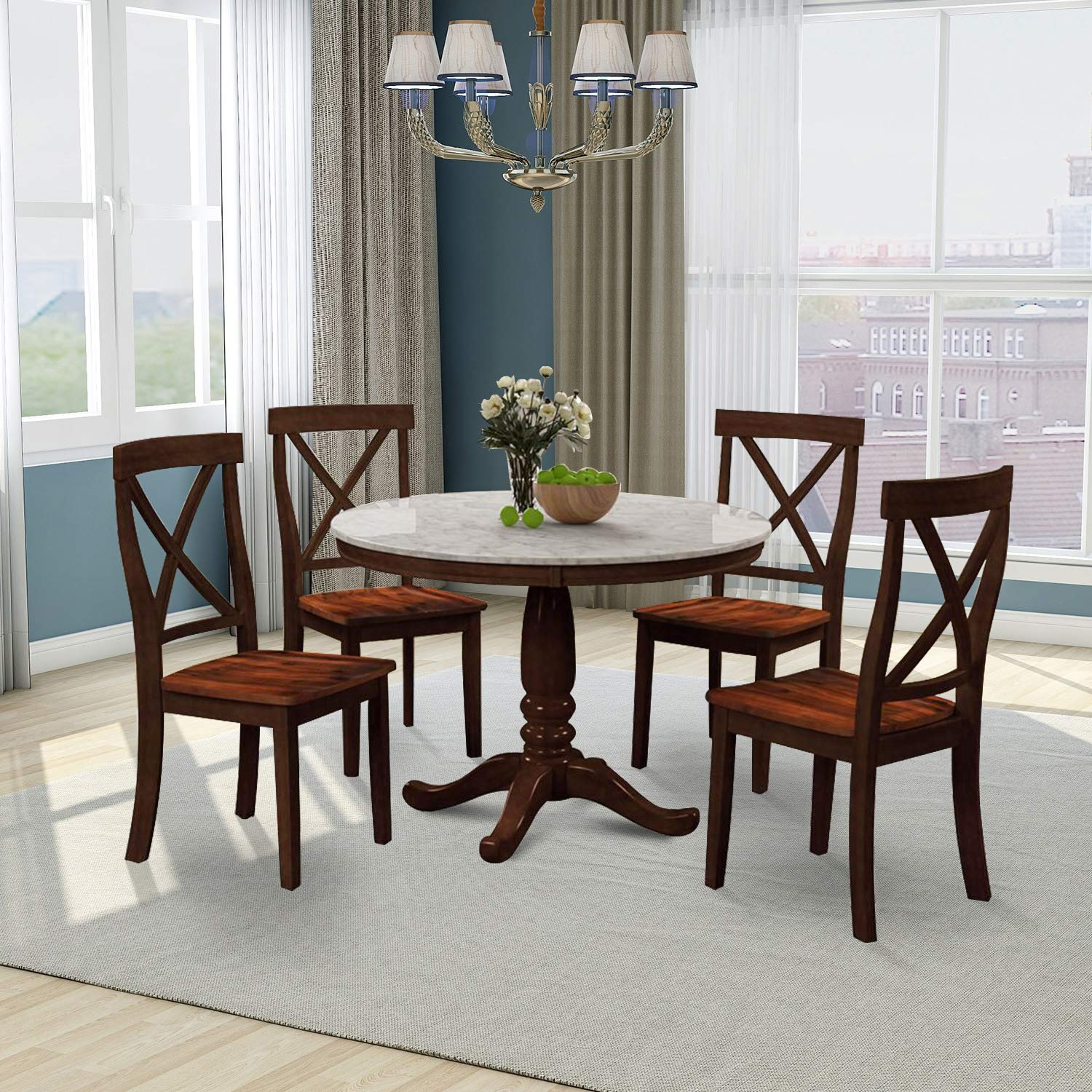 Round Dining Room Table Set Urhomepro, Modern Round Marble Top Dining Table Set 4 Chairs