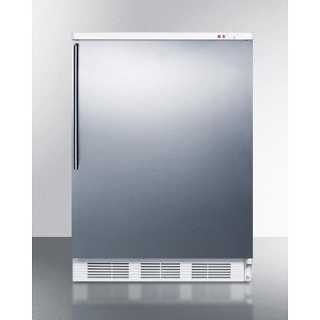 VT65MSSHV AccuCold 24 Upright Freezer with 3.5 cu. ft. Capacity  Three Slide-Out Drawers  Manual Defrost  No Internal Fans  Professional Vertical Handle and Adjustable Thermostat in Stainless Steel