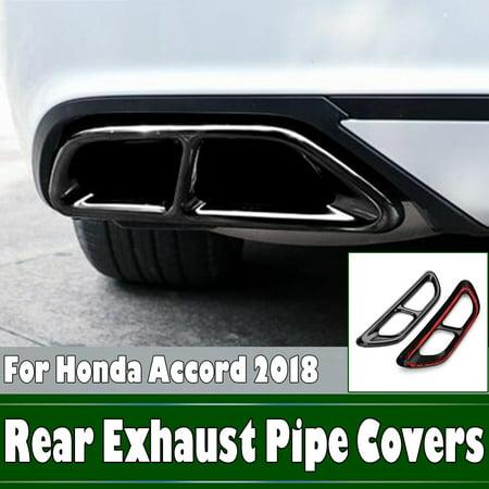 Rear Underseat Trim (2x Black Titanium Rear Cylinder Exhaust Pipe Cover Trim For Honda Accord 2018)