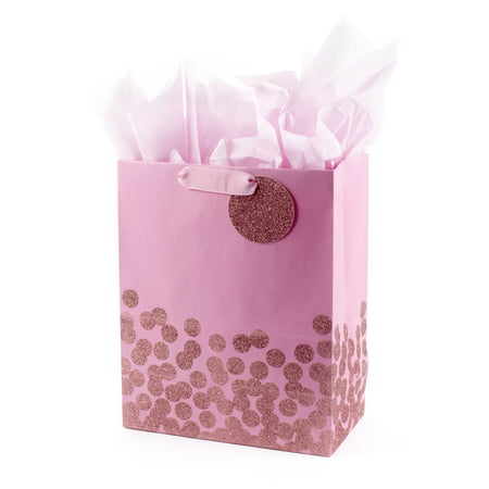 "Hallmark 13"" Large Gift Bag with Tissue Paper (Pink Glitter Dots) for Baby Showers, Birthdays, Bridal Showers, Easter, Sweetest Day and More"