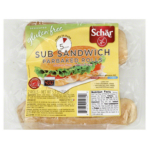 Schar Sub Sandwich Parbaked Rolls, 2 count, (Pack of 6)