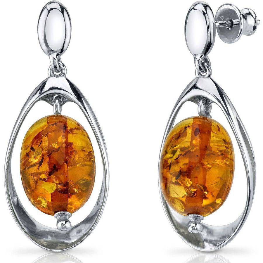 Oravo Oval-Shape Baltic Amber Rhodium over Sterling Silver Drop Earrings