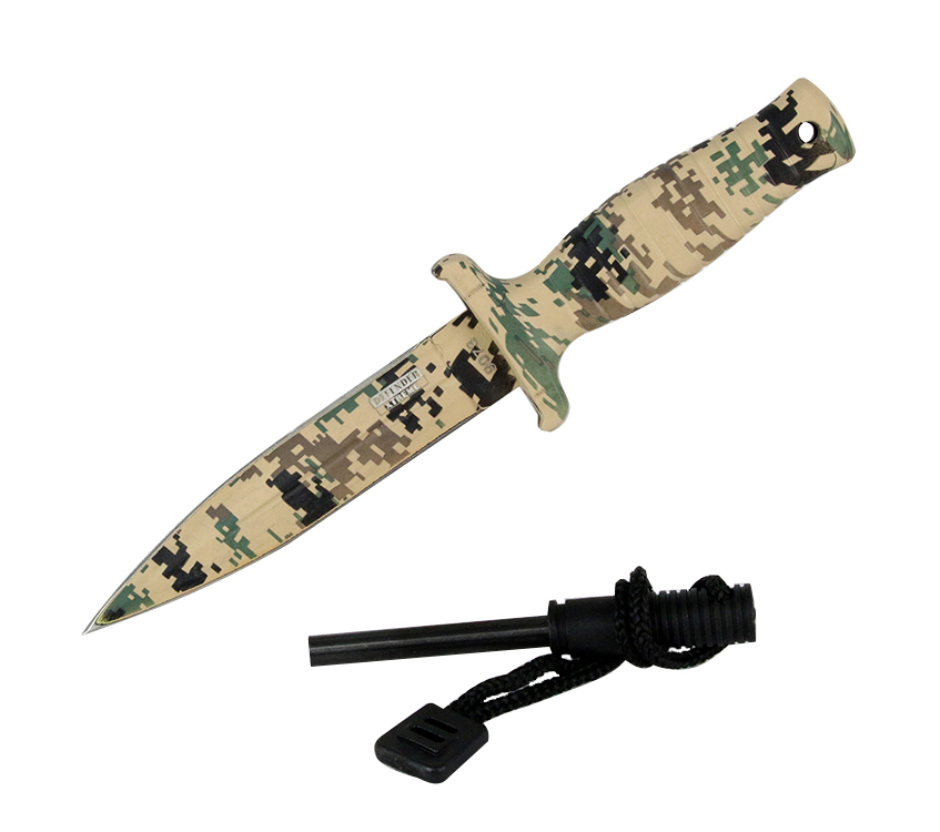 "7"" Defender Xtreme Desert Camo Hunting Knife Stainless Steel Blade Fire Starter by Defender Xtreme"