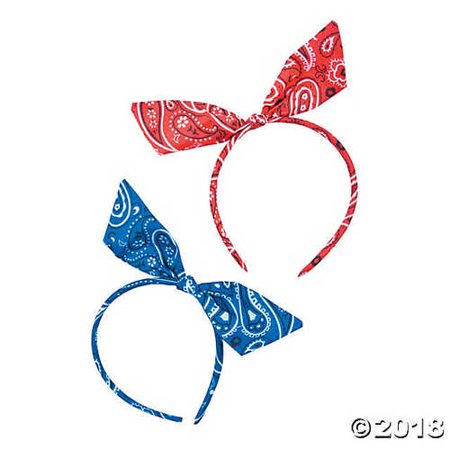 Bandana Print Bow Headbands