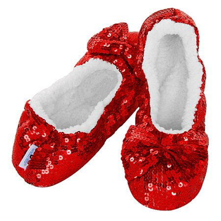 7c47a160184d Snoozies - Snoozies Sparkle Ballerina Slippers Imperial Red - Large -  Walmart.com